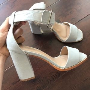 Shoes - Faux suede block heel sandals with ankle strap